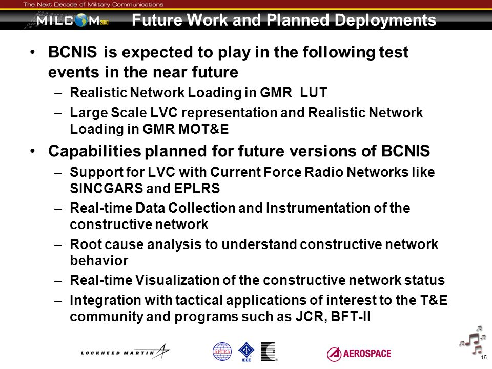 Future Work and Planned Deployments BCNIS is expected to play in the following test events in the near future –Realistic Network Loading in GMR LUT –L