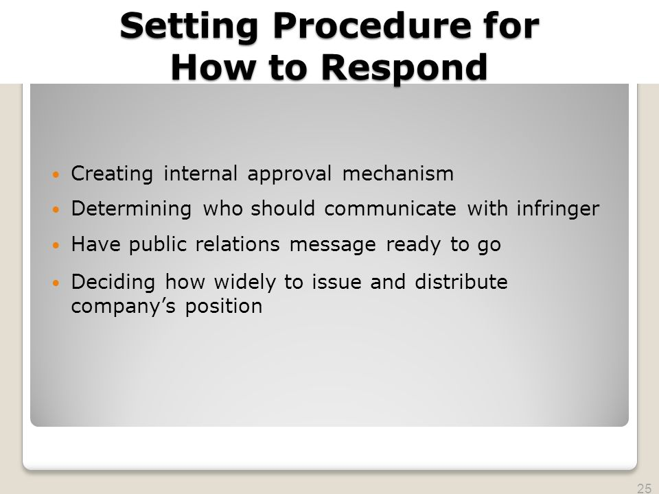 2010 TRADEMARK LAW SEMINAR THE FUTURE OF BRAND PROTECTION Setting Procedure for How to Respond Creating internal approval mechanism Determining who sh
