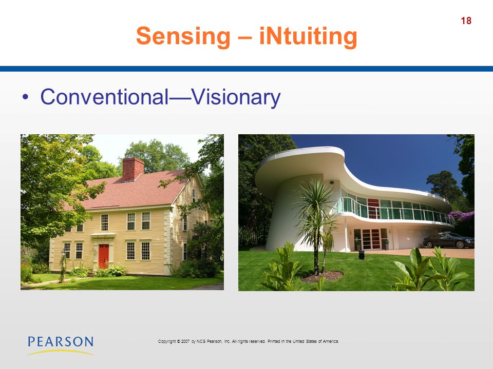 18 Sensing – iNtuiting ConventionalVisionary Copyright © 2007 by NCS Pearson, Inc. All rights reserved. Printed in the United States of America.