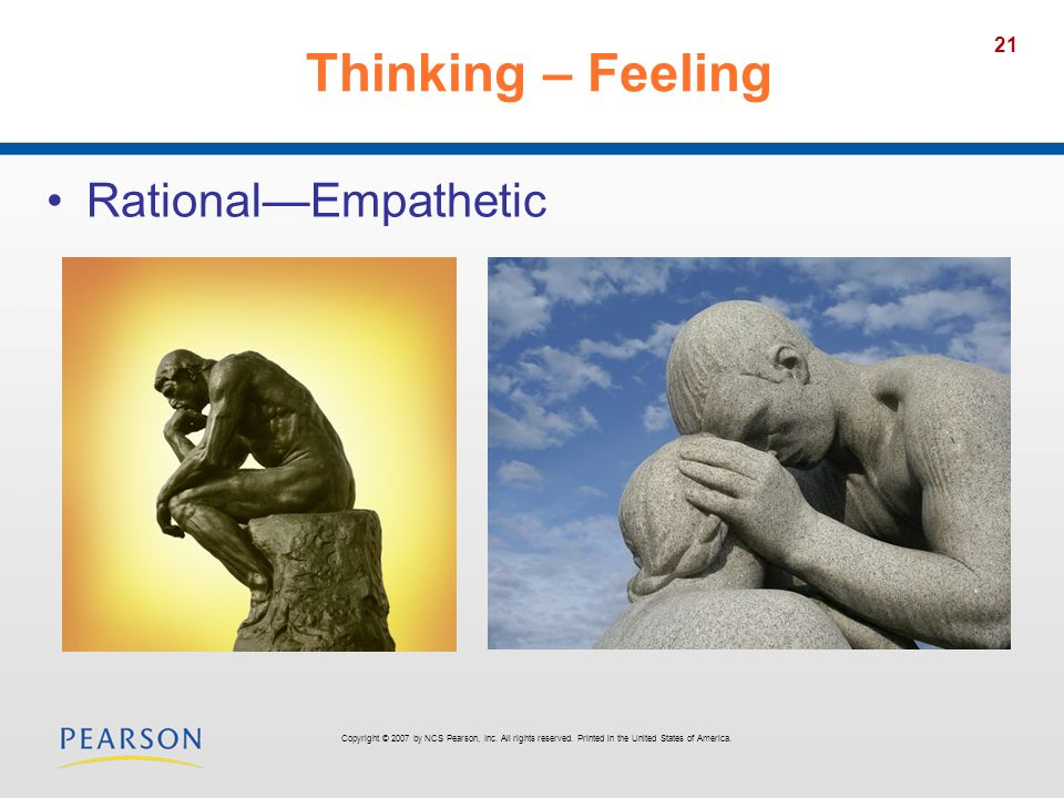 21 Thinking – Feeling RationalEmpathetic Copyright © 2007 by NCS Pearson, Inc.
