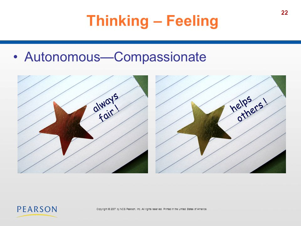 22 Thinking – Feeling AutonomousCompassionate Copyright © 2007 by NCS Pearson, Inc.