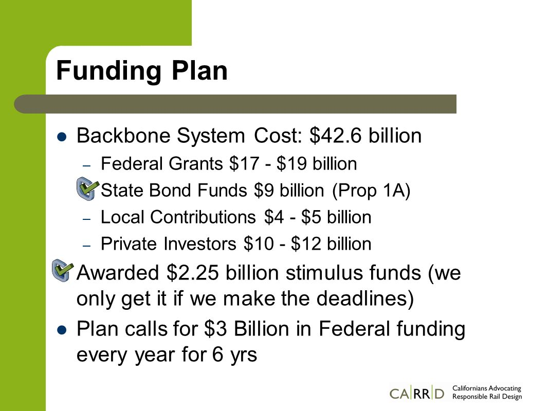 Funding Plan Backbone System Cost: $42.6 billion – Federal Grants $17 - $19 billion – State Bond Funds $9 billion (Prop 1A) – Local Contributions $4 - $5 billion – Private Investors $10 - $12 billion Awarded $2.25 billion stimulus funds (we only get it if we make the deadlines) Plan calls for $3 Billion in Federal funding every year for 6 yrs