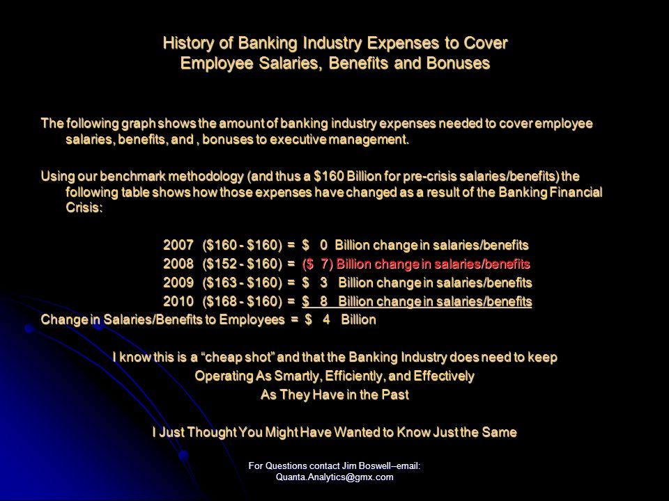 For Questions contact Jim Boswell--email: Quanta.Analytics@gmx.com History of Banking Industry Expenses to Cover Employee Salaries, Benefits and Bonuses The following graph shows the amount of banking industry expenses needed to cover employee salaries, benefits, and, bonuses to executive management.