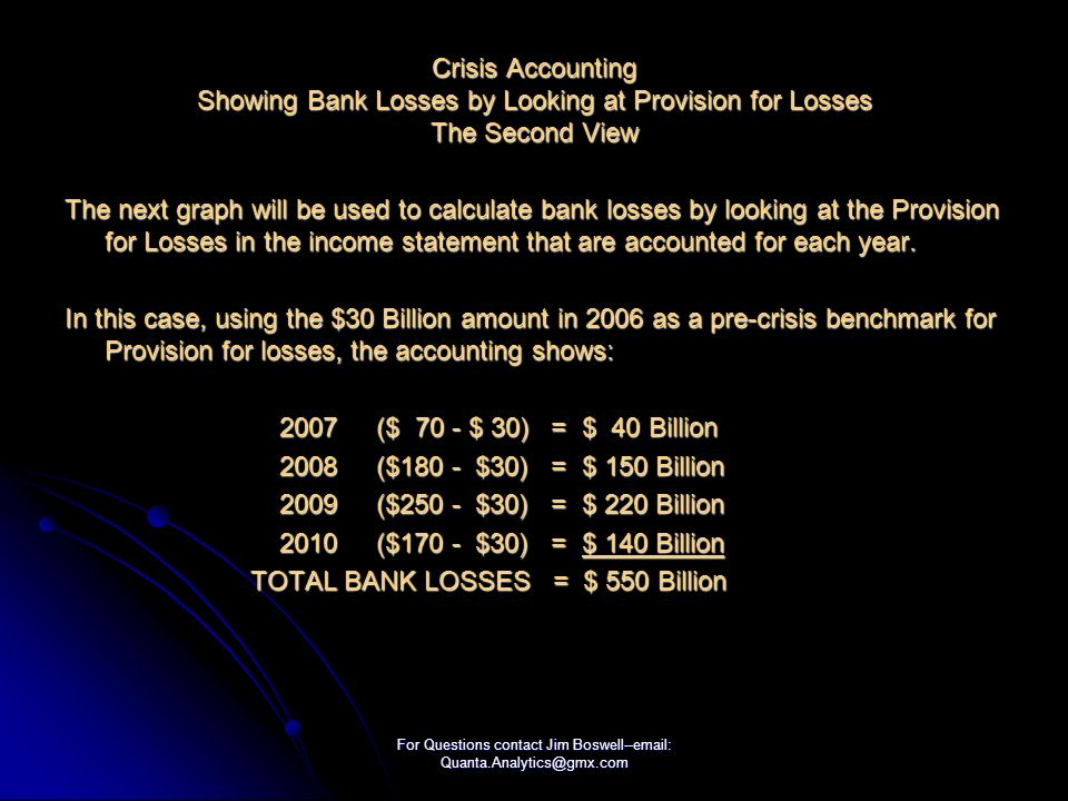 For Questions contact Jim Boswell--email: Quanta.Analytics@gmx.com Crisis Accounting Showing Bank Losses by Looking at Provision for Losses The Second View The next graph will be used to calculate bank losses by looking at the Provision for Losses in the income statement that are accounted for each year.
