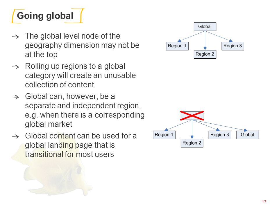 17 Going global The global level node of the geography dimension may not be at the top Rolling up regions to a global category will create an unusable collection of content Global can, however, be a separate and independent region, e.g.