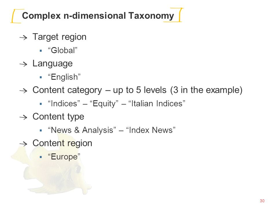 30 Complex n-dimensional Taxonomy Target region Global Language English Content category – up to 5 levels (3 in the example) Indices – Equity – Italian Indices Content type News & Analysis – Index News Content region Europe
