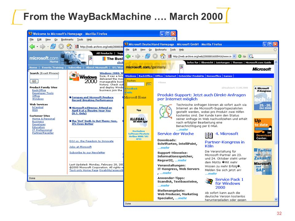 32 From the WayBackMachine …. March 2000