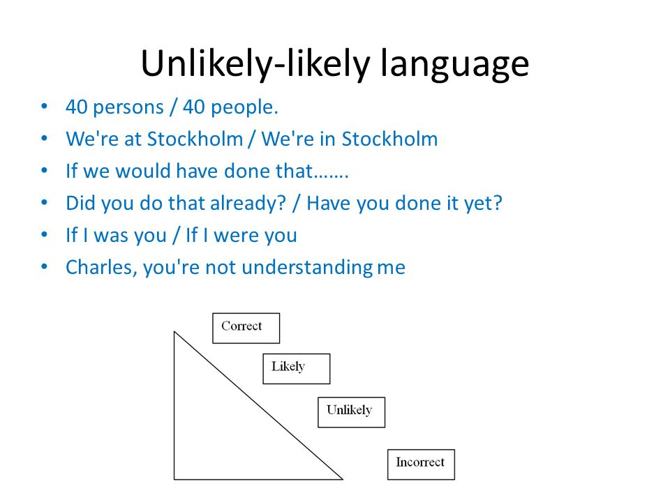 Unlikely-likely language 40 persons / 40 people.