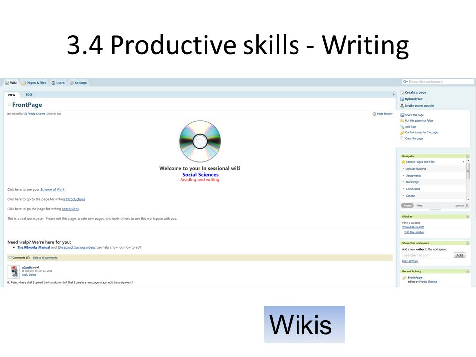 3.4 Productive skills - Writing Wikis