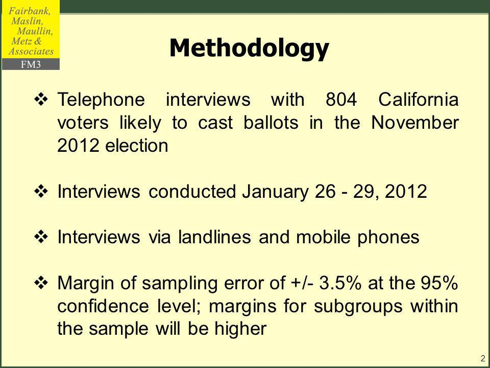 Methodology Telephone interviews with 804 California voters likely to cast ballots in the November 2012 election Interviews conducted January 26 - 29, 2012 Interviews via landlines and mobile phones Margin of sampling error of +/- 3.5% at the 95% confidence level; margins for subgroups within the sample will be higher 2