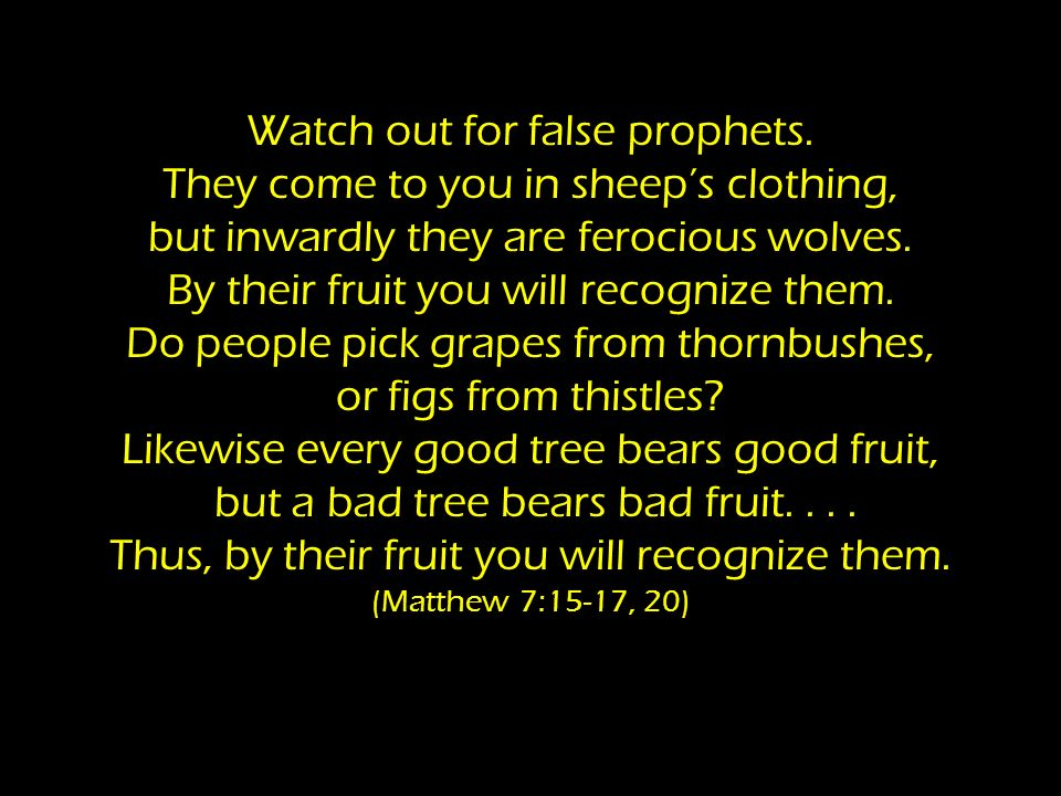Watch out for false prophets.