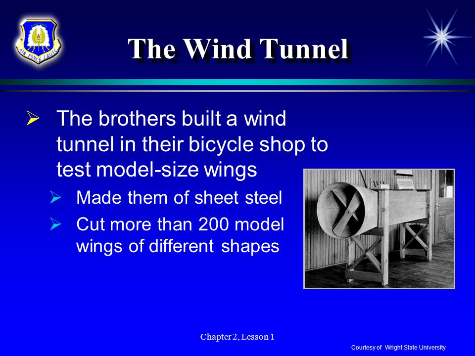 Chapter 2, Lesson 1 The Wind Tunnel The brothers built a wind tunnel in their bicycle shop to test model-size wings Made them of sheet steel Cut more