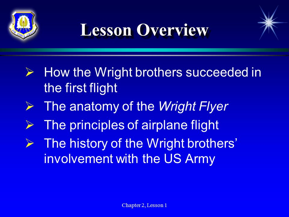Chapter 2, Lesson 1 Lesson Overview How the Wright brothers succeeded in the first flight The anatomy of the Wright Flyer The principles of airplane f