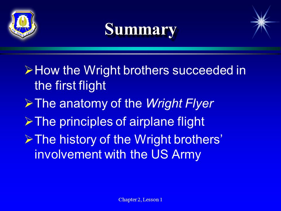 Chapter 2, Lesson 1 SummarySummary How the Wright brothers succeeded in the first flight The anatomy of the Wright Flyer The principles of airplane fl