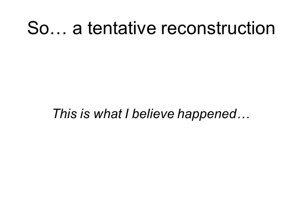So… a tentative reconstruction This is what I believe happened…