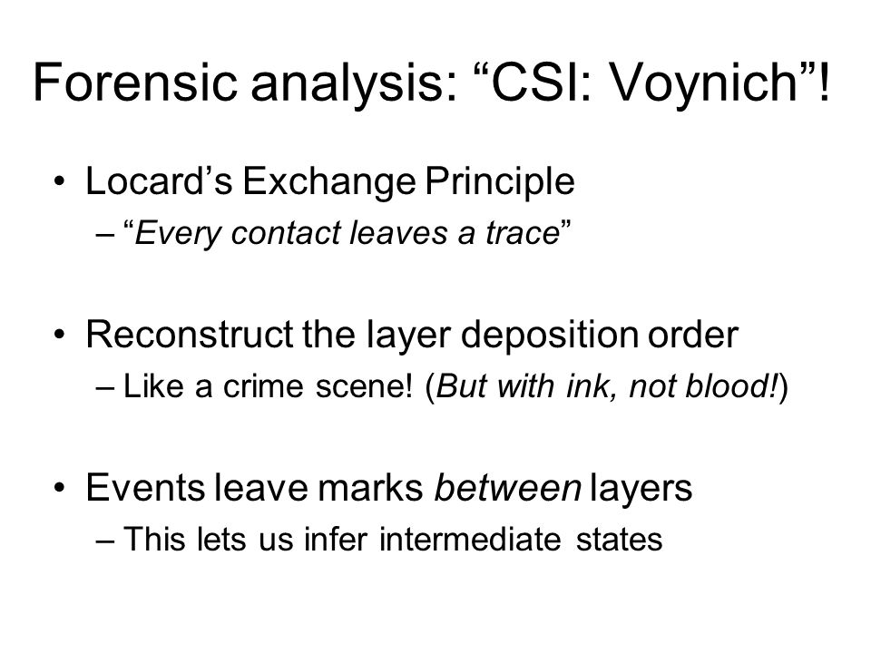 Forensic analysis: CSI: Voynich.