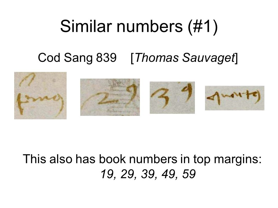 Similar numbers (#1) Cod Sang 839 [Thomas Sauvaget] This also has book numbers in top margins: 19, 29, 39, 49, 59