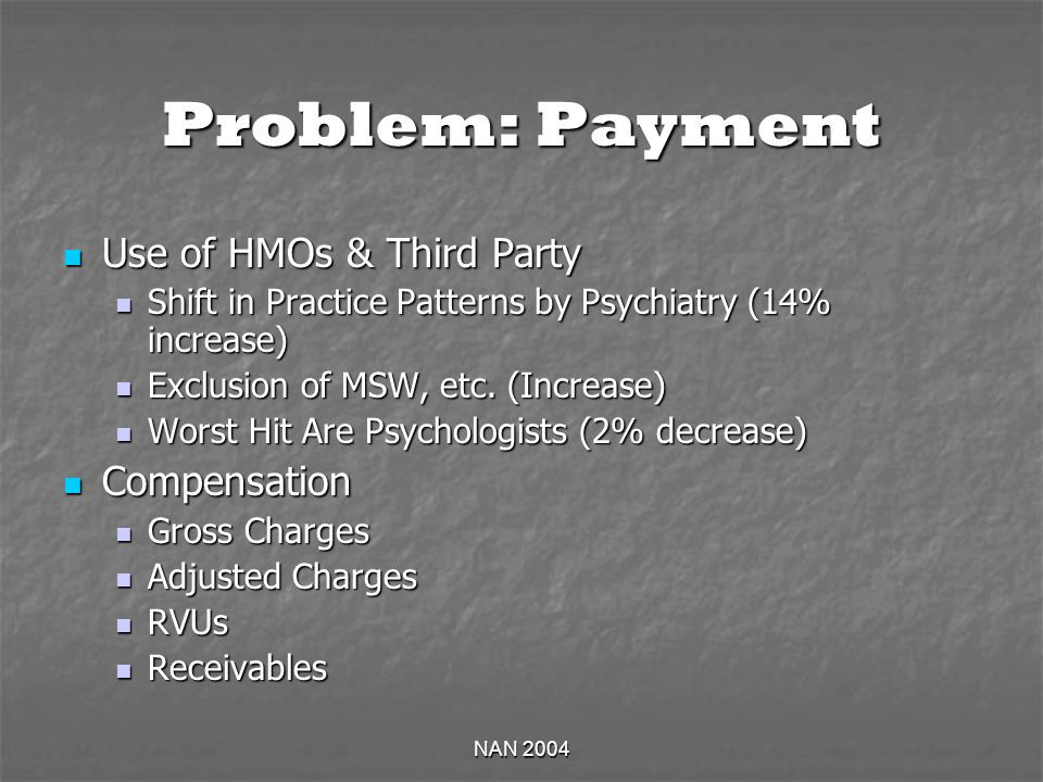 NAN 2004 Problem: Payment Use of HMOs & Third Party Use of HMOs & Third Party Shift in Practice Patterns by Psychiatry (14% increase) Shift in Practice Patterns by Psychiatry (14% increase) Exclusion of MSW, etc.