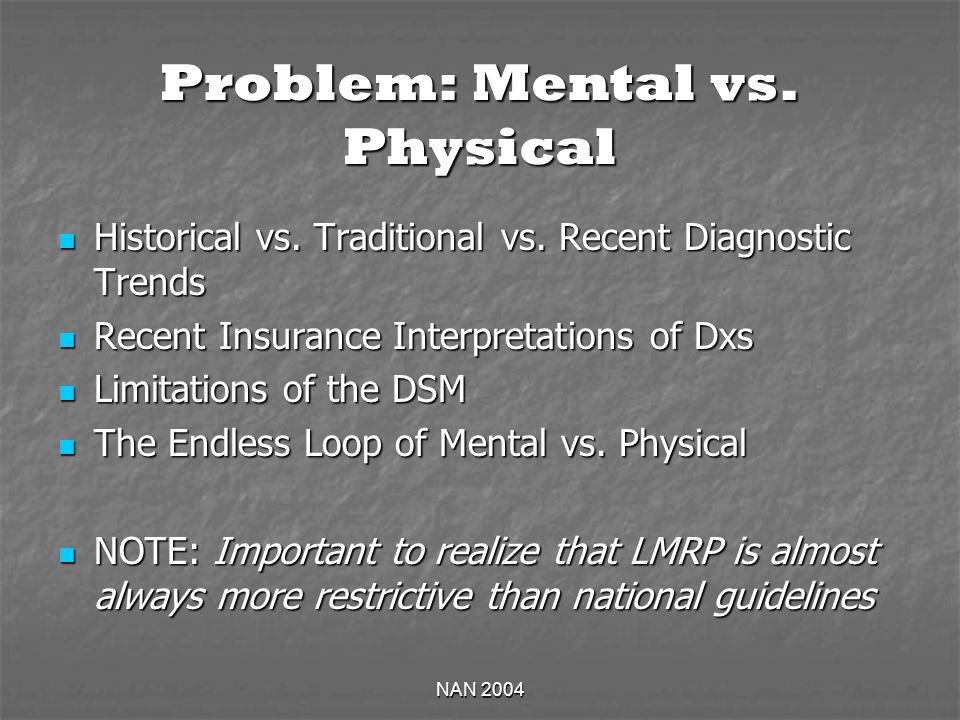 NAN 2004 Problem: Mental vs. Physical Historical vs. Traditional vs. Recent Diagnostic Trends Historical vs. Traditional vs. Recent Diagnostic Trends