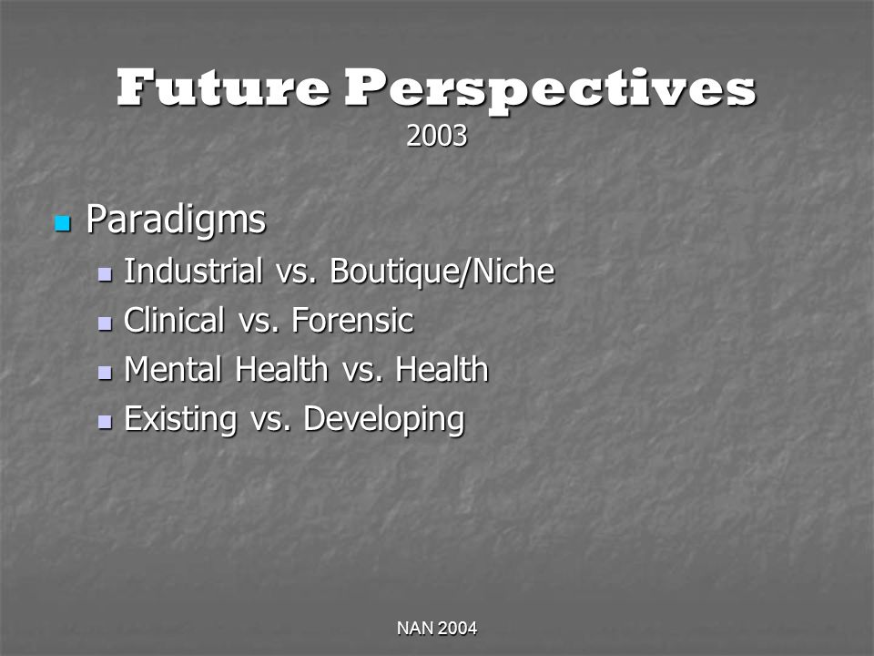 NAN 2004 Future Perspectives 2003 Paradigms Paradigms Industrial vs. Boutique/Niche Industrial vs. Boutique/Niche Clinical vs. Forensic Clinical vs. F