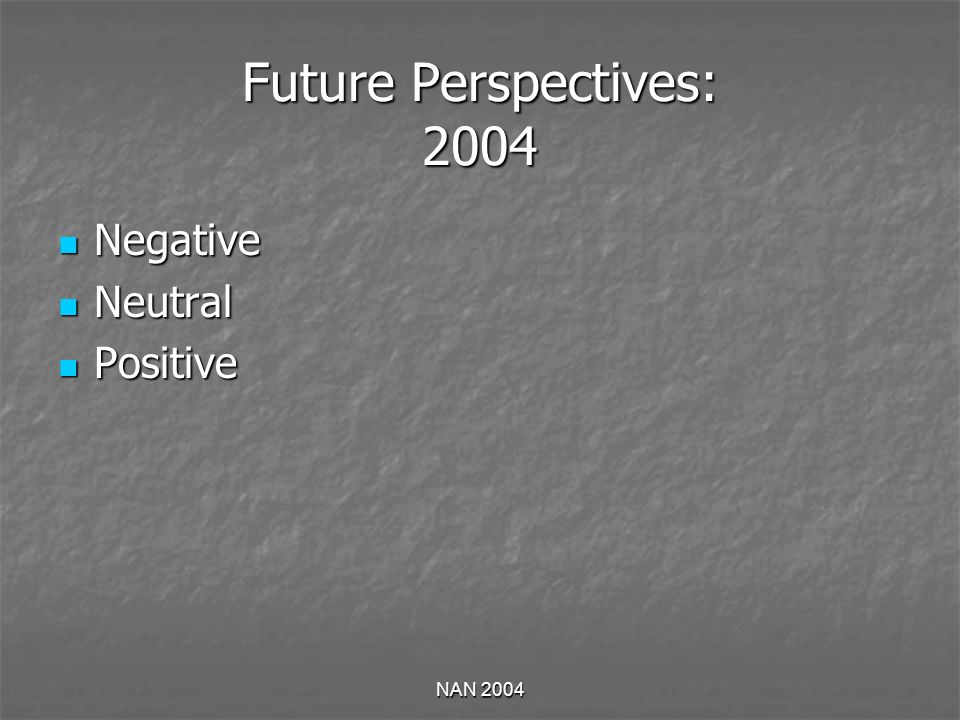 NAN 2004 Future Perspectives: 2004 Negative Negative Neutral Neutral Positive Positive