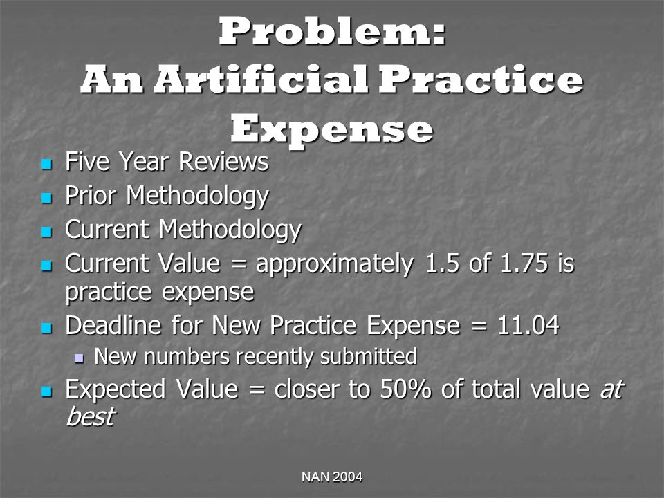 NAN 2004 Problem: An Artificial Practice Expense Five Year Reviews Five Year Reviews Prior Methodology Prior Methodology Current Methodology Current M