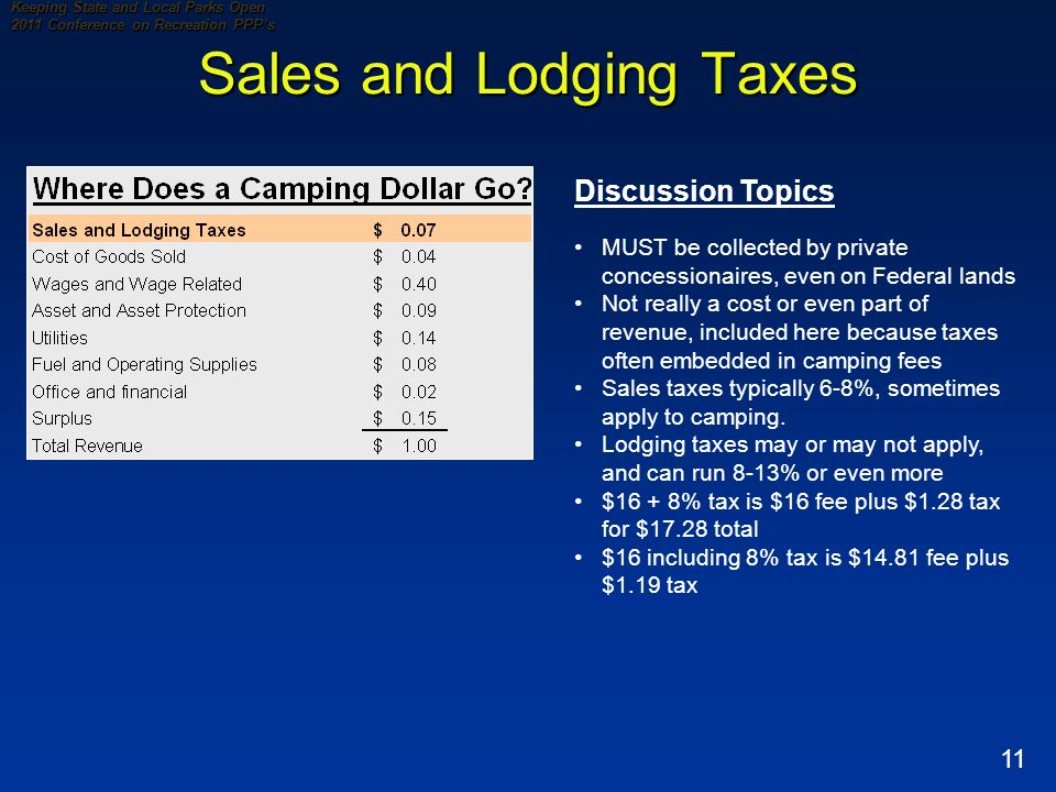 11 Keeping State and Local Parks Open 2011 Conference on Recreation PPPs Sales and Lodging Taxes Discussion Topics MUST be collected by private concessionaires, even on Federal lands Not really a cost or even part of revenue, included here because taxes often embedded in camping fees Sales taxes typically 6-8%, sometimes apply to camping.