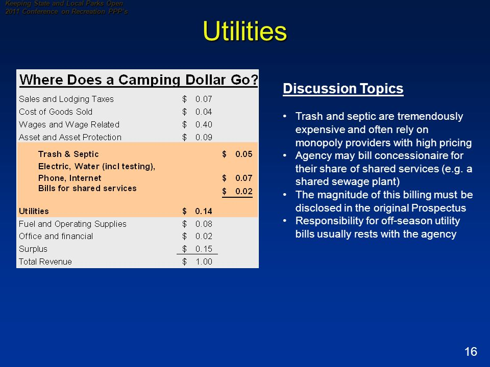 16 Keeping State and Local Parks Open 2011 Conference on Recreation PPPs Utilities Discussion Topics Trash and septic are tremendously expensive and often rely on monopoly providers with high pricing Agency may bill concessionaire for their share of shared services (e.g.