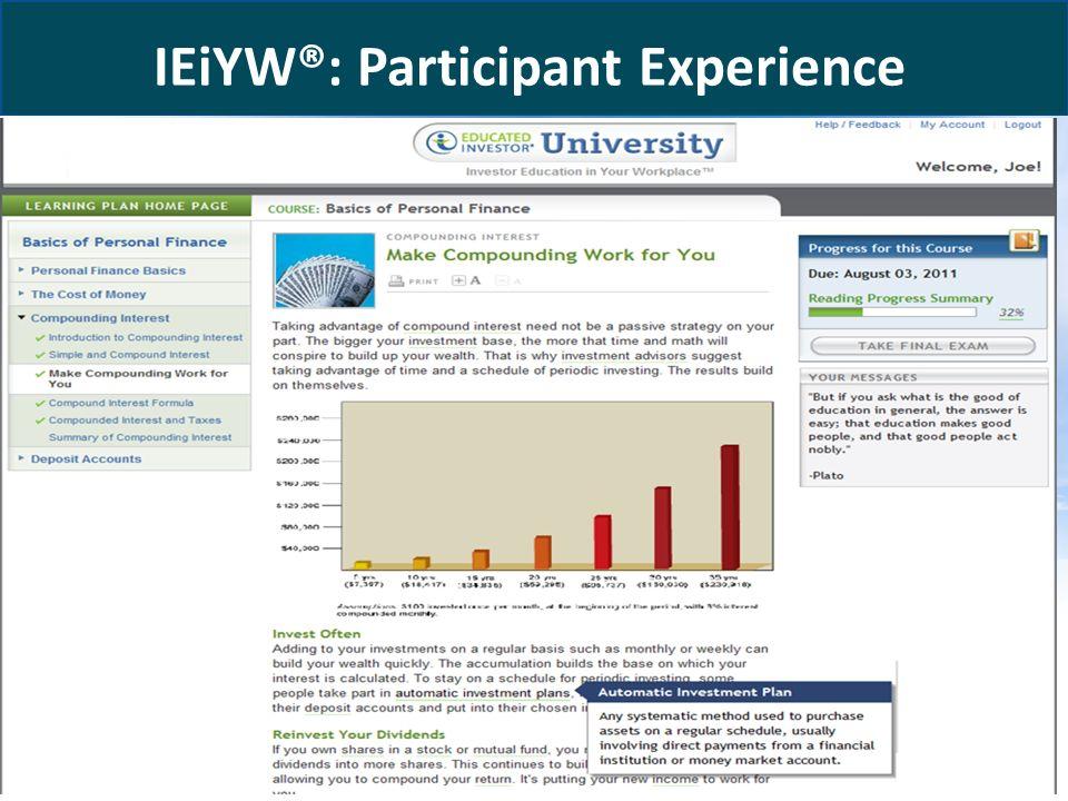 www.educatedinvestor.com IEiYW®: Participant Experience