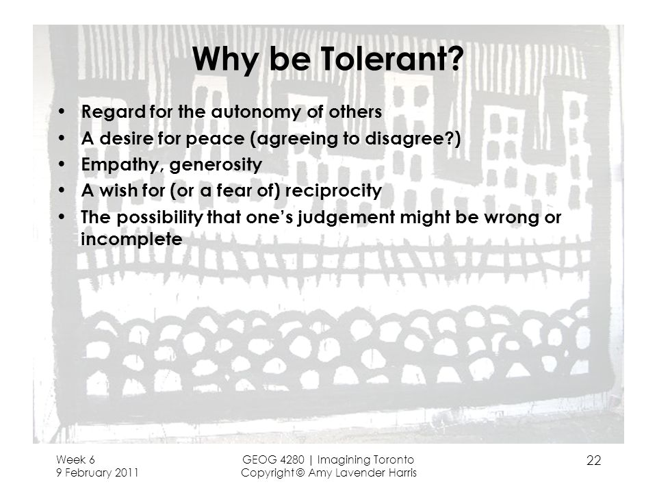 Why be Tolerant? Regard for the autonomy of others A desire for peace (agreeing to disagree?) Empathy, generosity A wish for (or a fear of) reciprocit