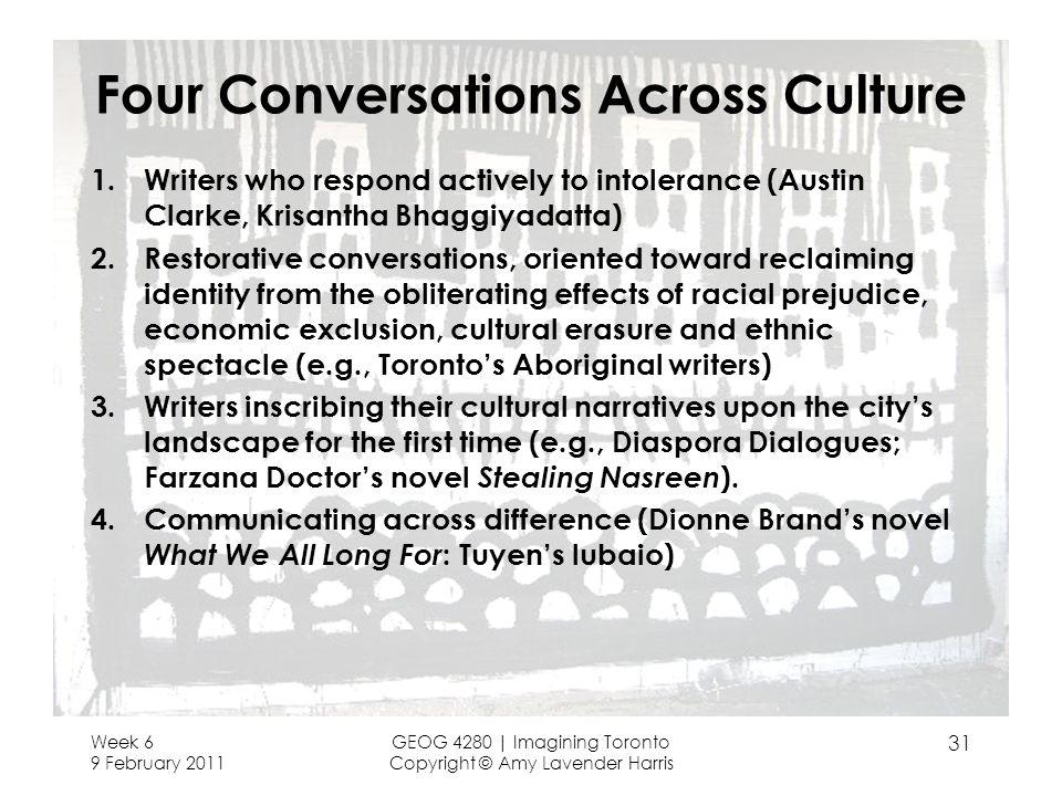 Four Conversations Across Culture 1.Writers who respond actively to intolerance (Austin Clarke, Krisantha Bhaggiyadatta) 2.Restorative conversations,