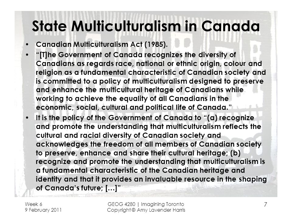 State Multiculturalism in Canada Canadian Multiculturalism Act (1985). [T]he Government of Canada recognizes the diversity of Canadians as regards rac