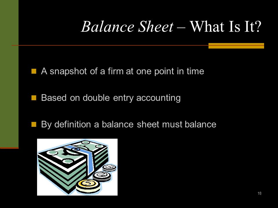 18 Balance Sheet – What Is It? A snapshot of a firm at one point in time Based on double entry accounting By definition a balance sheet must balance