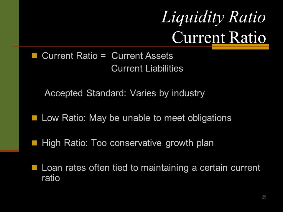 29 Liquidity Ratio Current Ratio Current Ratio = Current Assets Current Liabilities Accepted Standard: Varies by industry Low Ratio: May be unable to meet obligations High Ratio: Too conservative growth plan Loan rates often tied to maintaining a certain current ratio