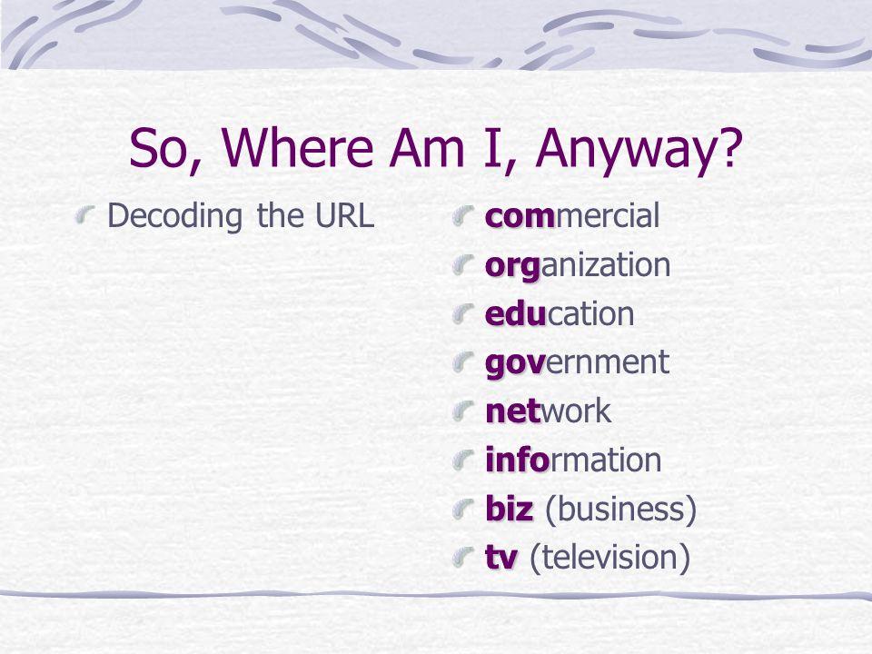 So, Where Am I, Anyway? Decoding the URLcomorgedugovnetinfobiztv com commercial org organization edu education gov government net network info informa