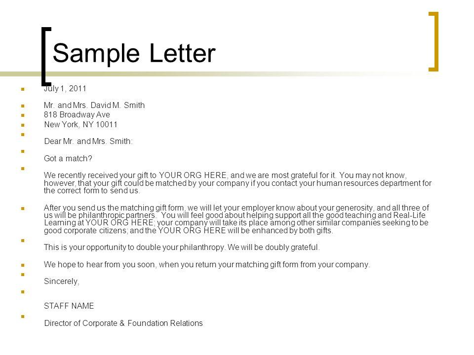 Sample Letter July 1, 2011 Mr. and Mrs. David M.
