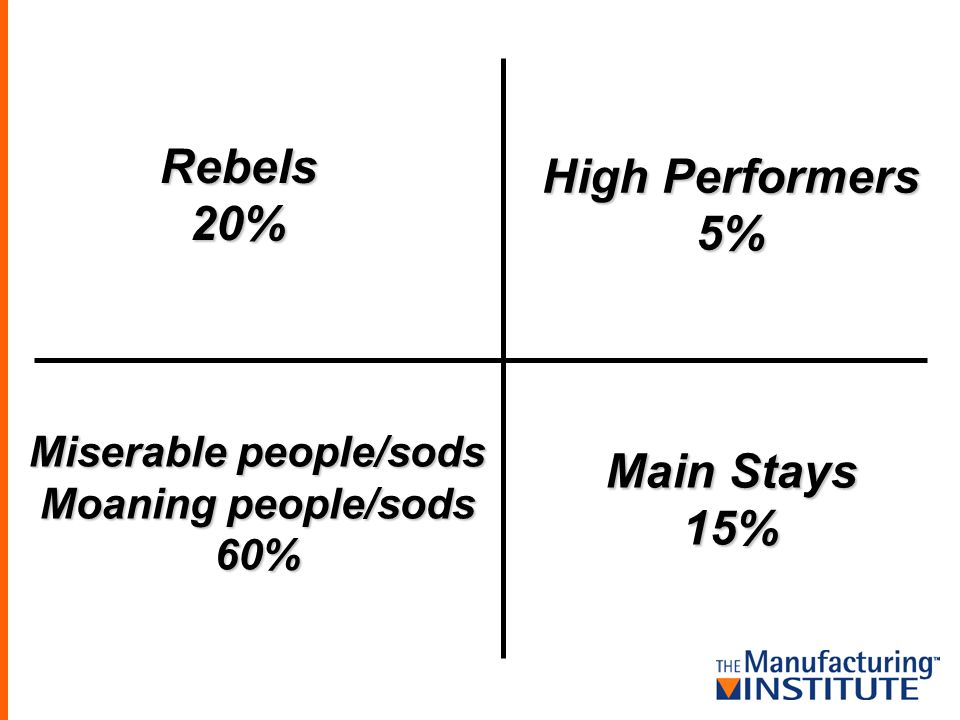 Rebels20% Main Stays 15% High Performers 5% Miserable people/sods Moaning people/sods 60%