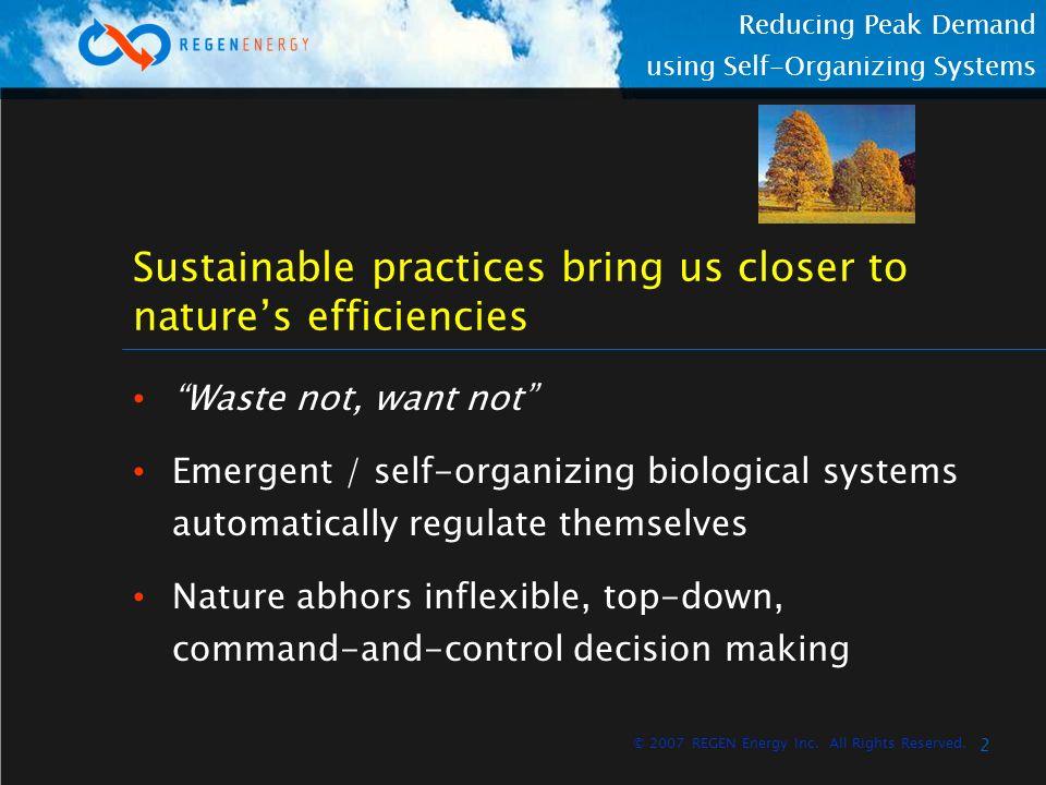3 Reducing Peak Demand using Self-Organizing Systems © 2007 REGEN Energy Inc.
