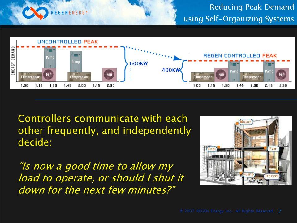 8 Reducing Peak Demand using Self-Organizing Systems © 2007 REGEN Energy Inc.