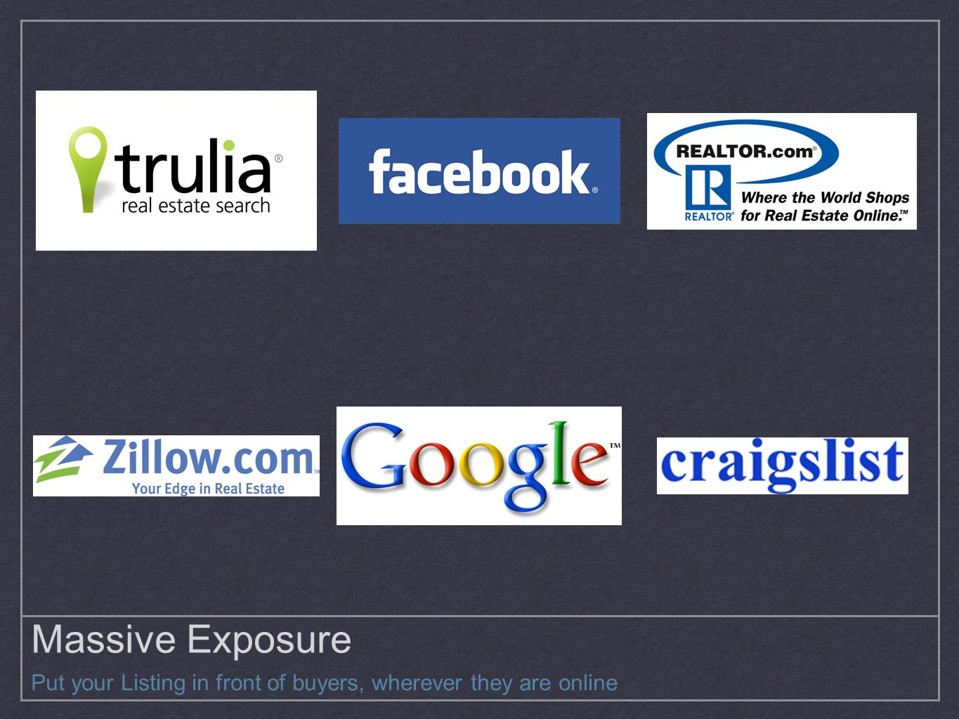 Massive Exposure Put your Listing in front of buyers, wherever they are online