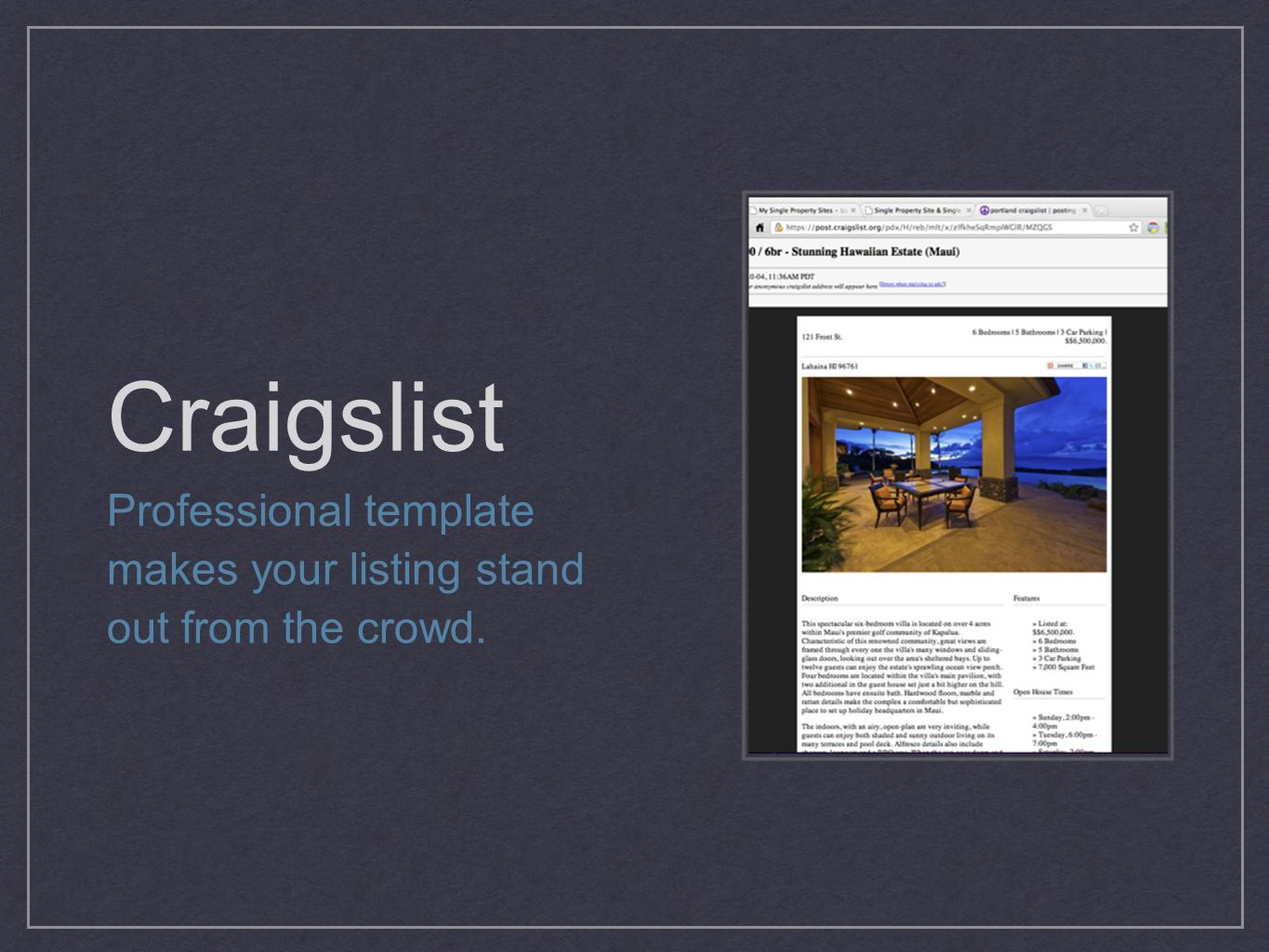 Craigslist Professional template makes your listing stand out from the crowd.