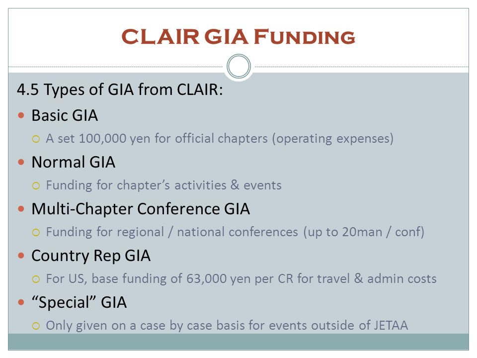 CLAIR GIA Funding 1) Annual GIA request (due Julyish) Summarizes all projected expenditures (MOFA & CLAIR) Change of usage documents to be submitted when needed 2) End of year spending report (due Marchish) Submit receipts and explanations for ALL expenses Importance of membership data Cost sharing