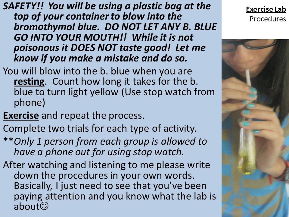 Exercise Lab Procedures SAFETY!! You will be using a plastic bag at the top of your container to blow into the bromothymol blue. DO NOT LET ANY B. BLU