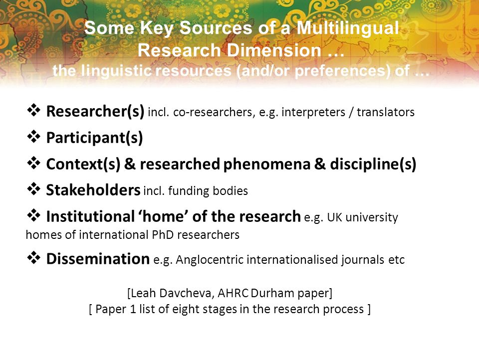 Some Key Sources of a Multilingual Research Dimension … the linguistic resources (and/or preferences) of … Researcher(s) incl. co-researchers, e.g. in