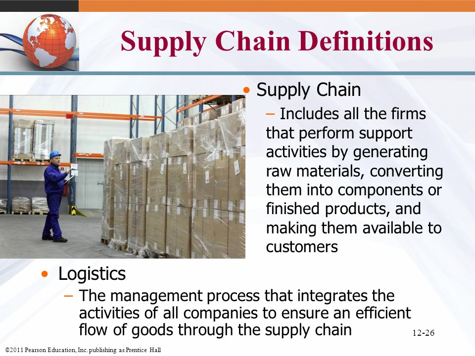 ©2011 Pearson Education, Inc. publishing as Prentice Hall 12-26 Supply Chain Definitions Logistics –The management process that integrates the activit
