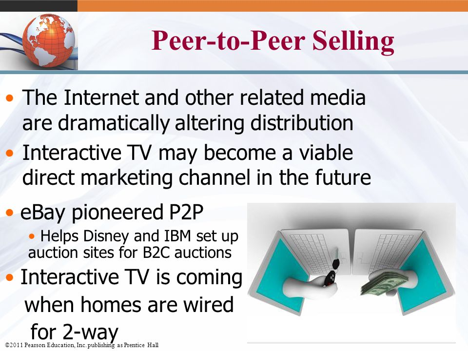 ©2011 Pearson Education, Inc. publishing as Prentice Hall 12-9 Peer-to-Peer Selling The Internet and other related media are dramatically altering dis