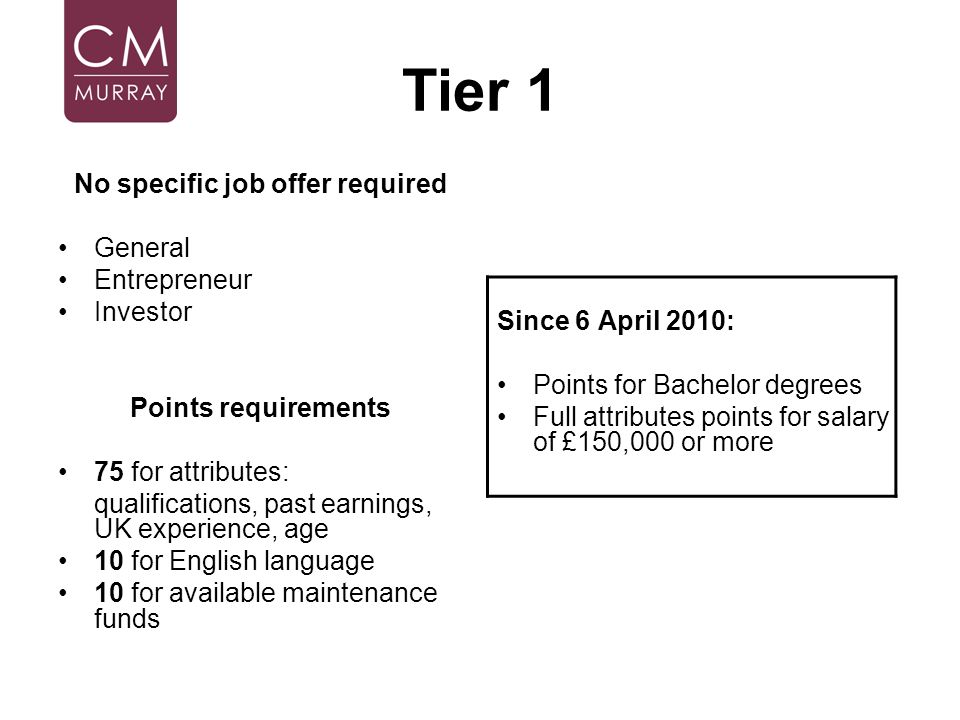 Tier 1 No specific job offer required General Entrepreneur Investor Points requirements 75 for attributes: qualifications, past earnings, UK experienc