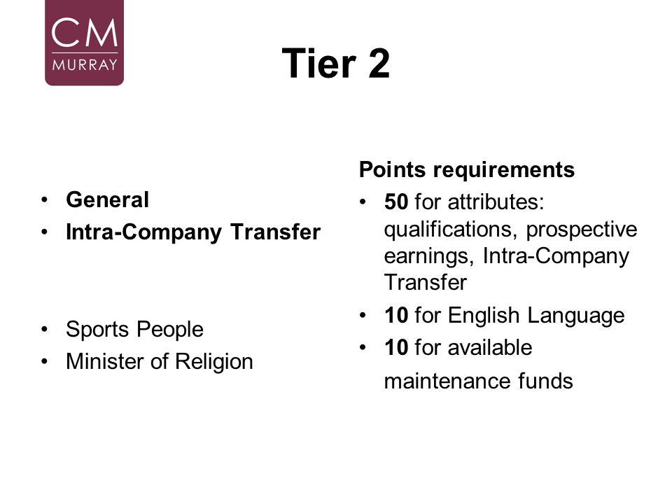Tier 2 General Intra-Company Transfer Sports People Minister of Religion Points requirements 50 for attributes: qualifications, prospective earnings,