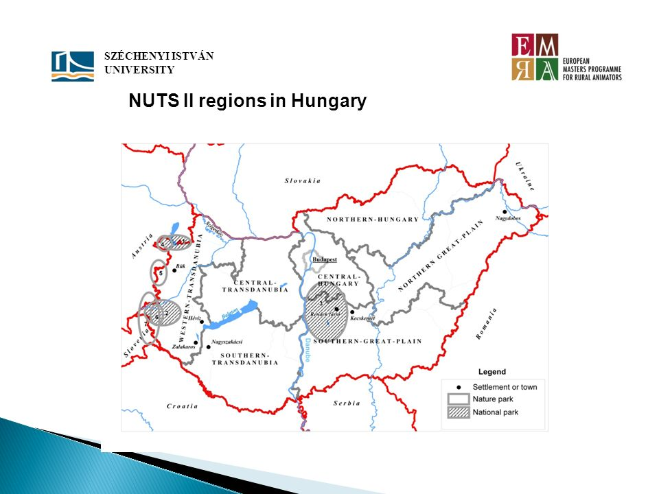 SZÉCHENYI ISTVÁN UNIVERSITY NUTS II regions in Hungary