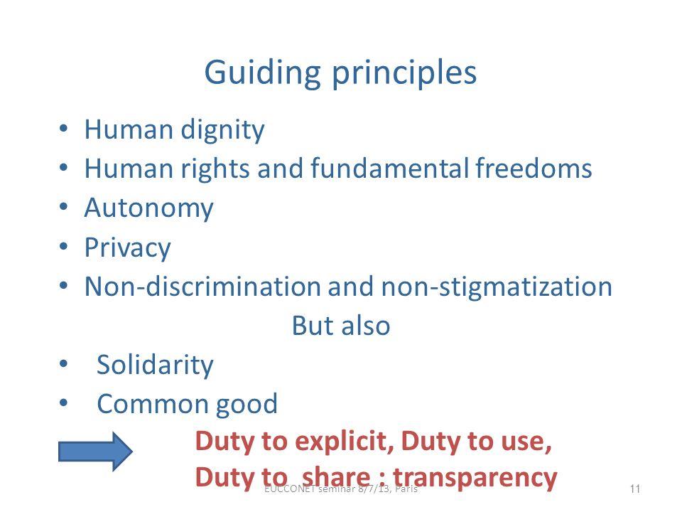 Guiding principles Human dignity Human rights and fundamental freedoms Autonomy Privacy Non-discrimination and non-stigmatization But also Solidarity